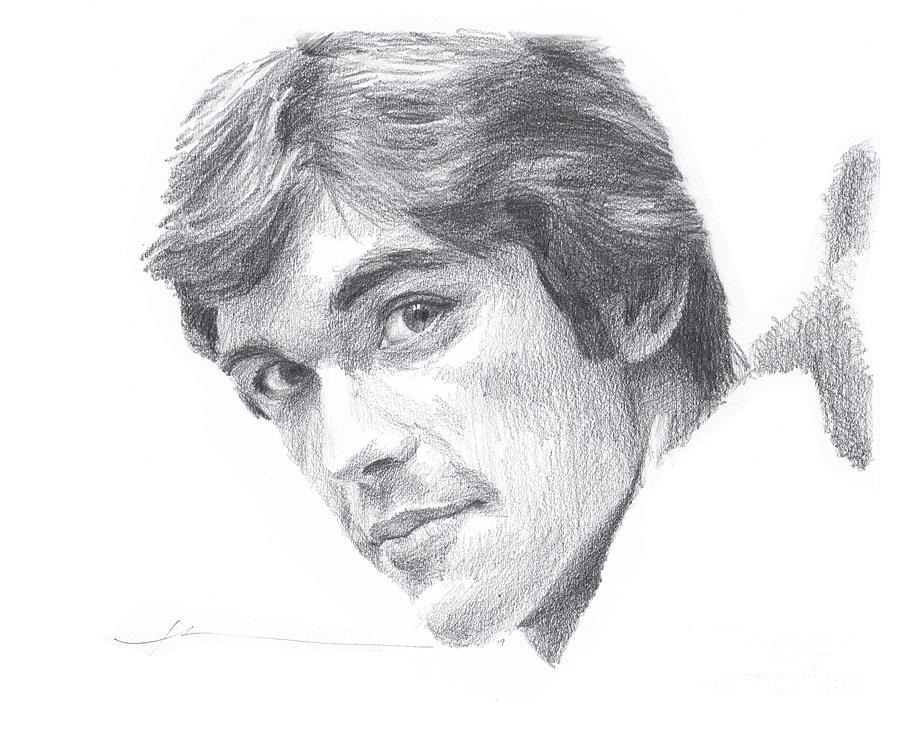 Pencil Portrait Drawing - Departed Young Uncle by Mike Theuer