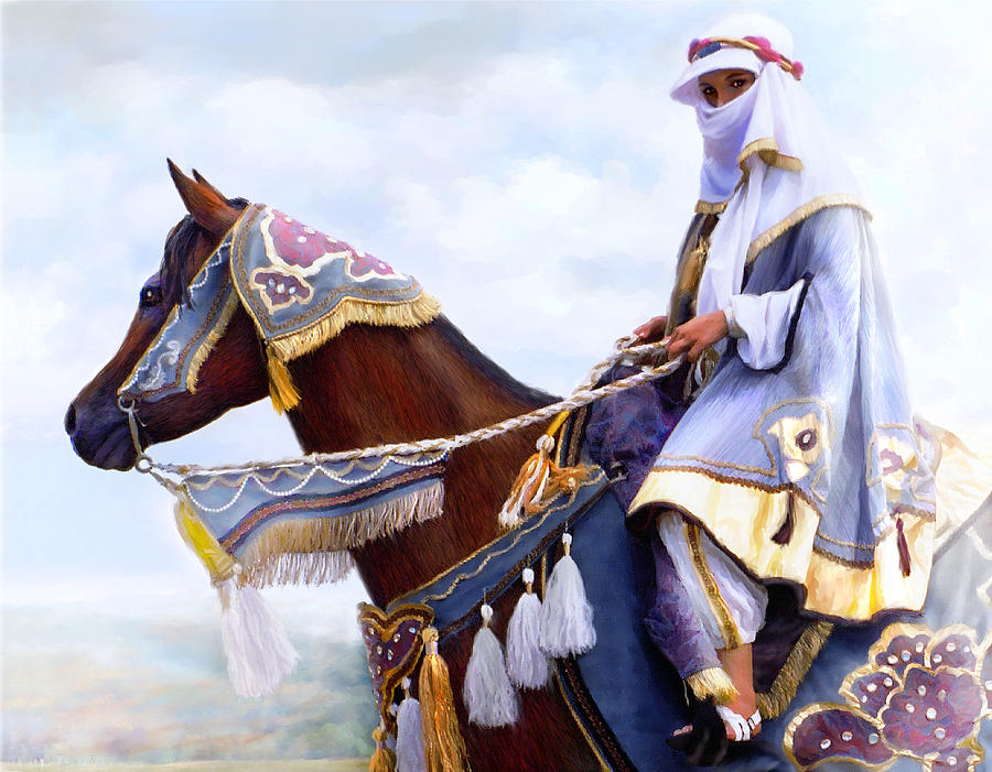 Horse Painting - Desert Arabian Native Costume Horse And Girl Rider by Connie Moses