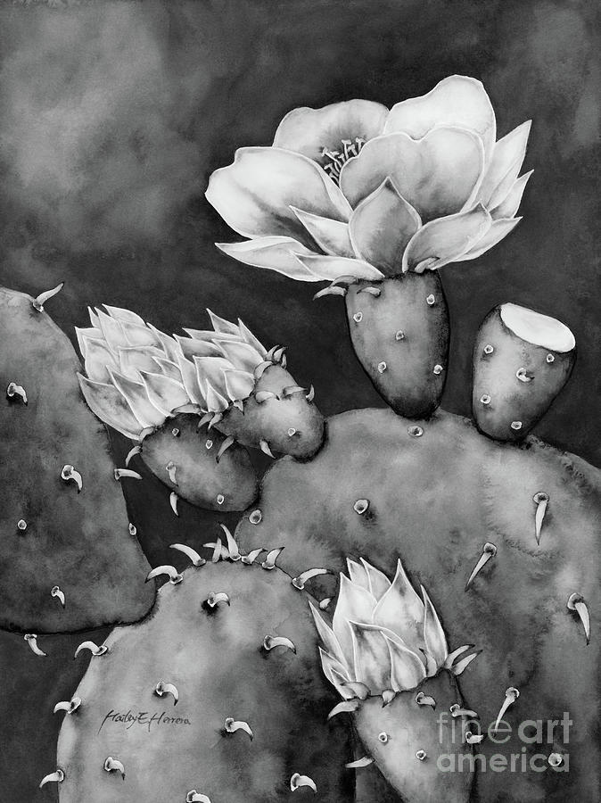 Desert Bloom In Black And White Painting