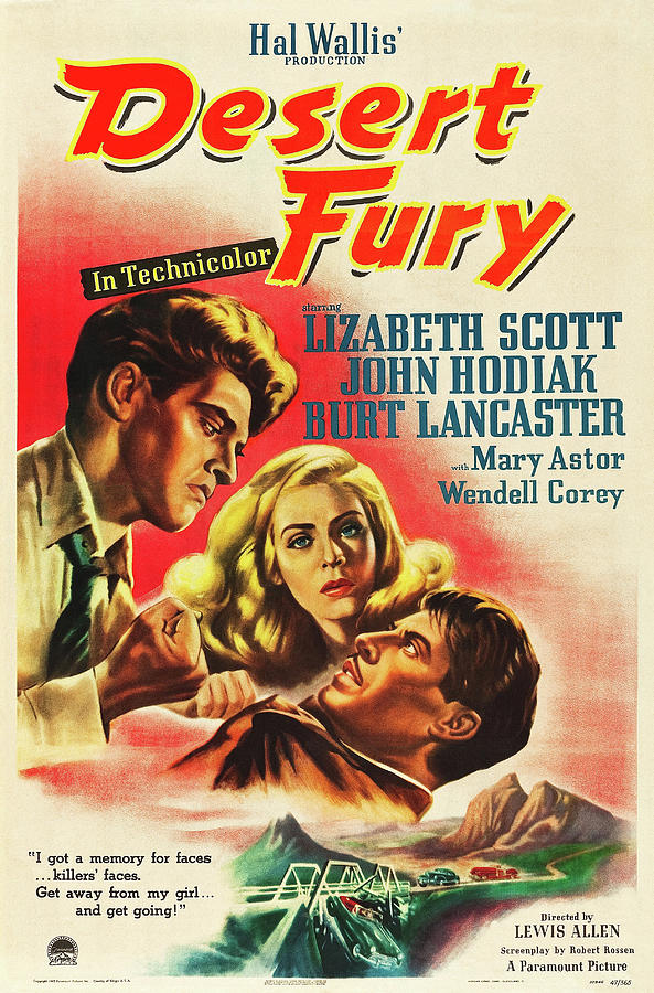 desert Fury, With Lizabeth Scott And Burt Lancaster, 1947 Mixed Media