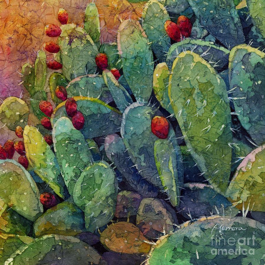 Cactus Painting - Desert Gems 2-Square Format by Hailey E Herrera