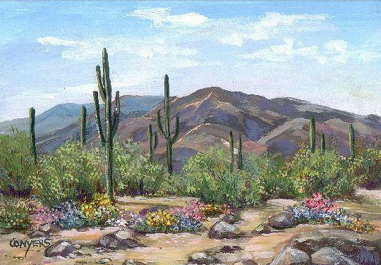 Desert Painting - Desert in Bloom by Peggy Conyers