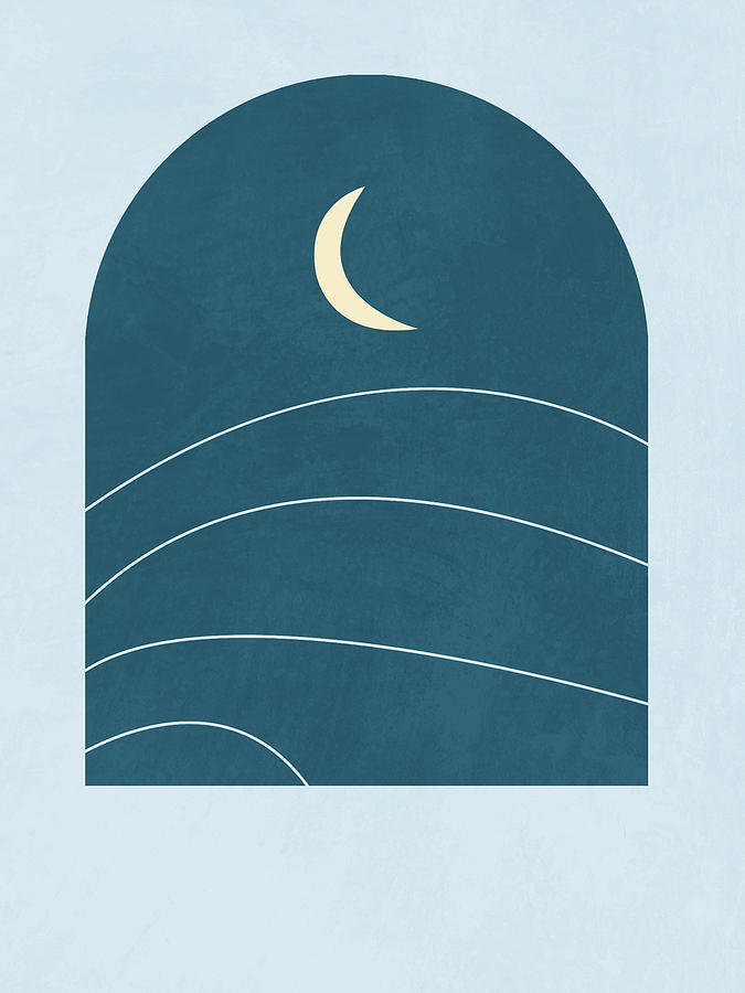 Desert Moon - Blue - A Window With A View Mixed Media