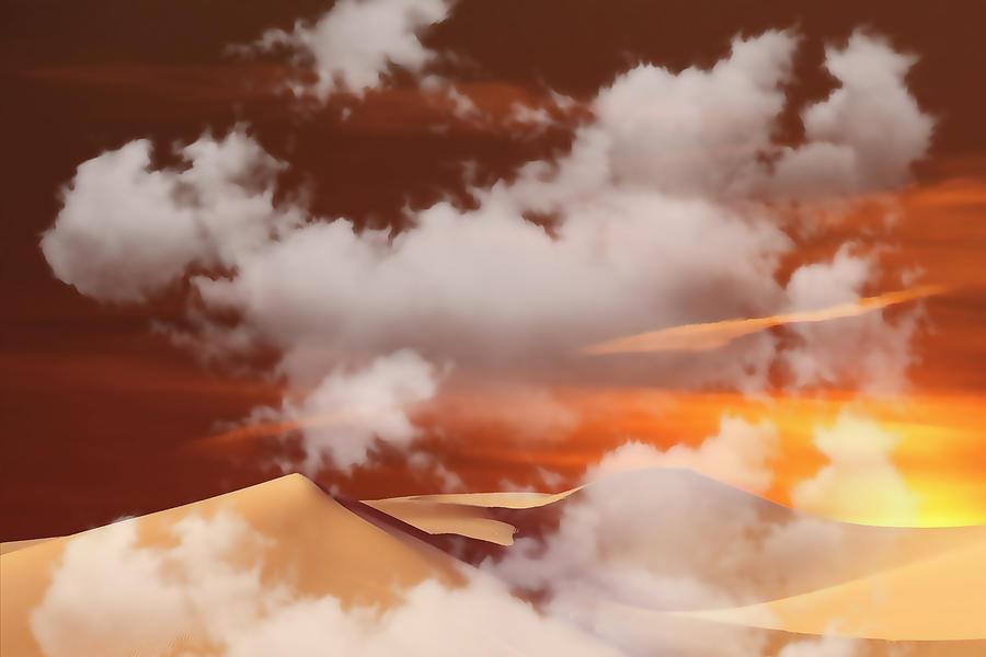 Desert Sand Orange Mixed Media