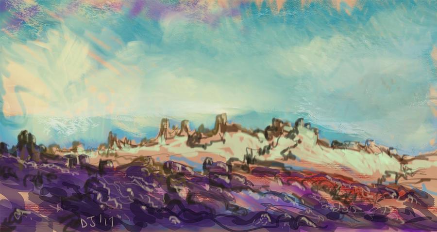 Desert Skies - Pixel/Digital Painting by Doug Jerving