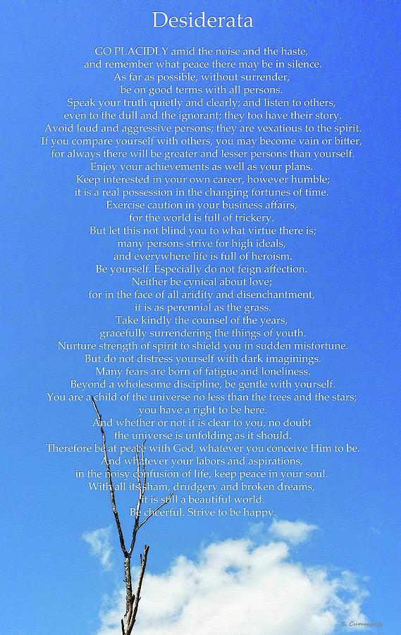 Desiderata Painting - Desiderata 10 - Blue Sky Art - Sharon Cummings by Sharon Cummings