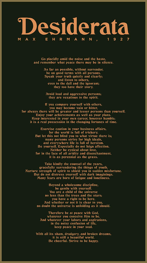 Desiderata By Max Ehrmann - Literary Print 8 - Go Placidly Amid The Noise And The Haste Mixed Media