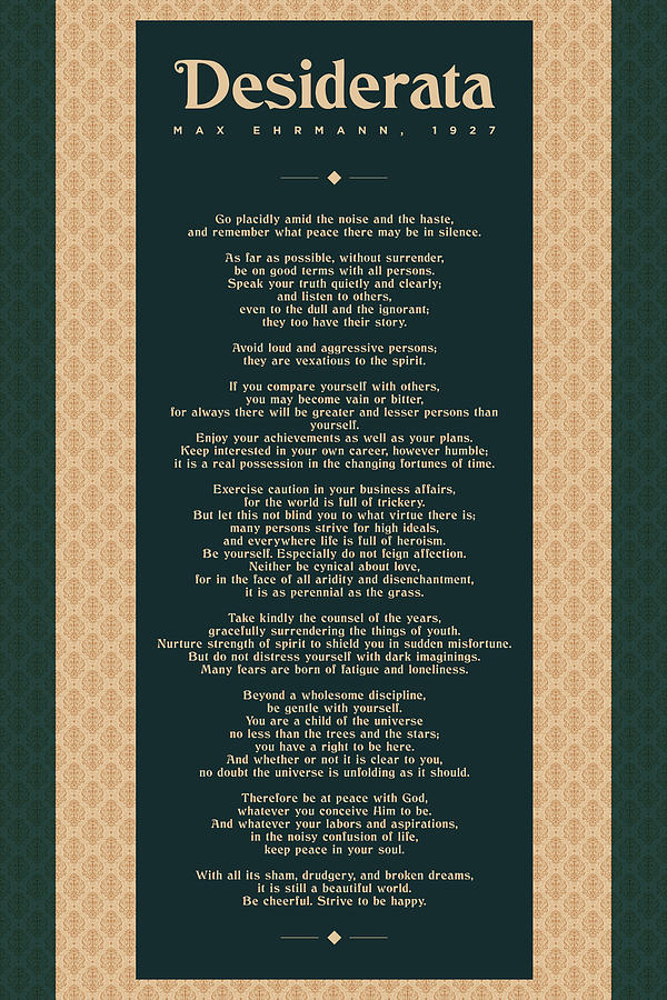 Desiderata By Max Ehrmann - Literary Prints 02 - Typography - Go Placidly Poem - Book Lover Gifts Mixed Media