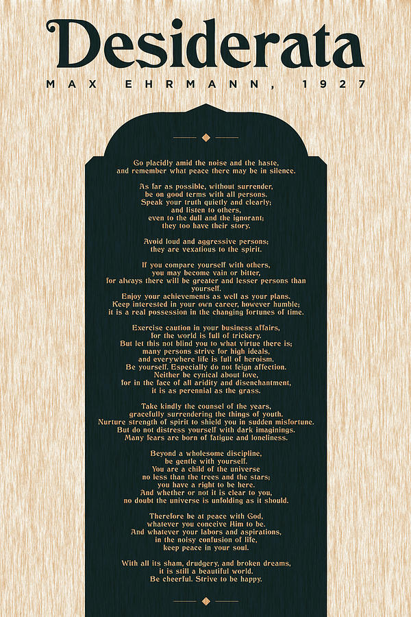 Desiderata By Max Ehrmann - Literary Prints 03 - Typography - Go Placidly Poem - Book Lover Gifts Mixed Media