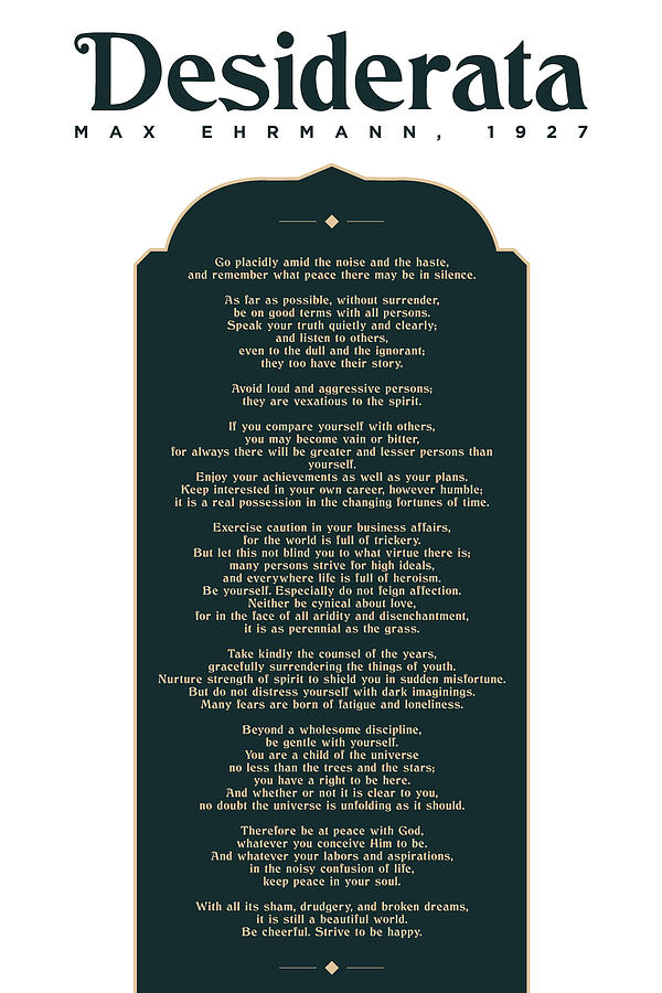Desiderata By Max Ehrmann - Literary Prints 04 - Typography - Go Placidly Poem - Book Lover Gifts Mixed Media