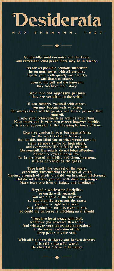 Desiderata By Max Ehrmann - Literary Prints - Typography - Go Placidly Poem - Book Lover Gifts Mixed Media