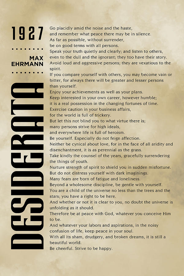 Desiderata - Max Ehrmann - Typographic Print - Literary Poster 12 Mixed Media