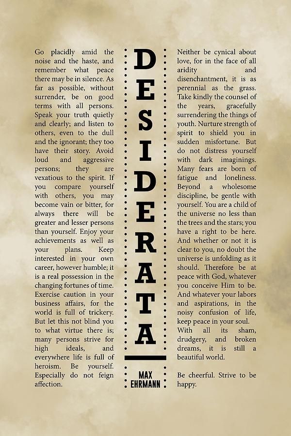 Desiderata, Max Ehrmann - Typography Print 28 - Literary Poster Mixed Media