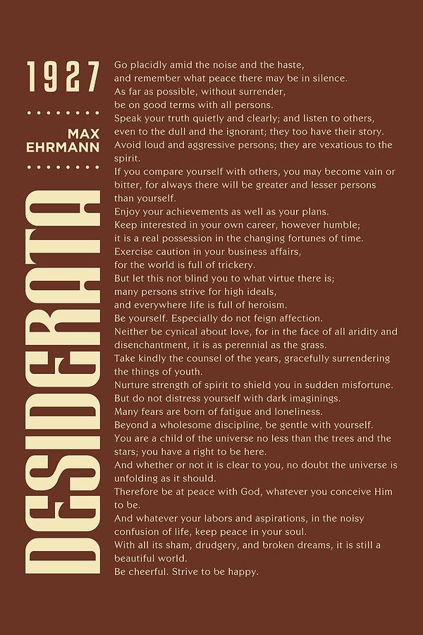Desiderata Poster - Max Ehrmann - Typographic Print - Literary Poster 13 Mixed Media