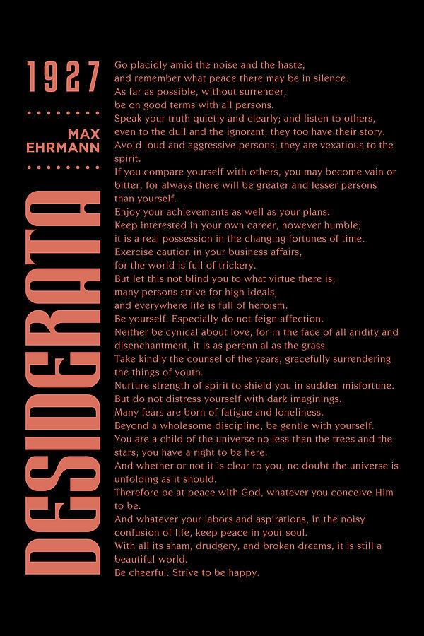Desiderata Poster - Max Ehrmann - Typographic Print - Literary Poster 14 Mixed Media