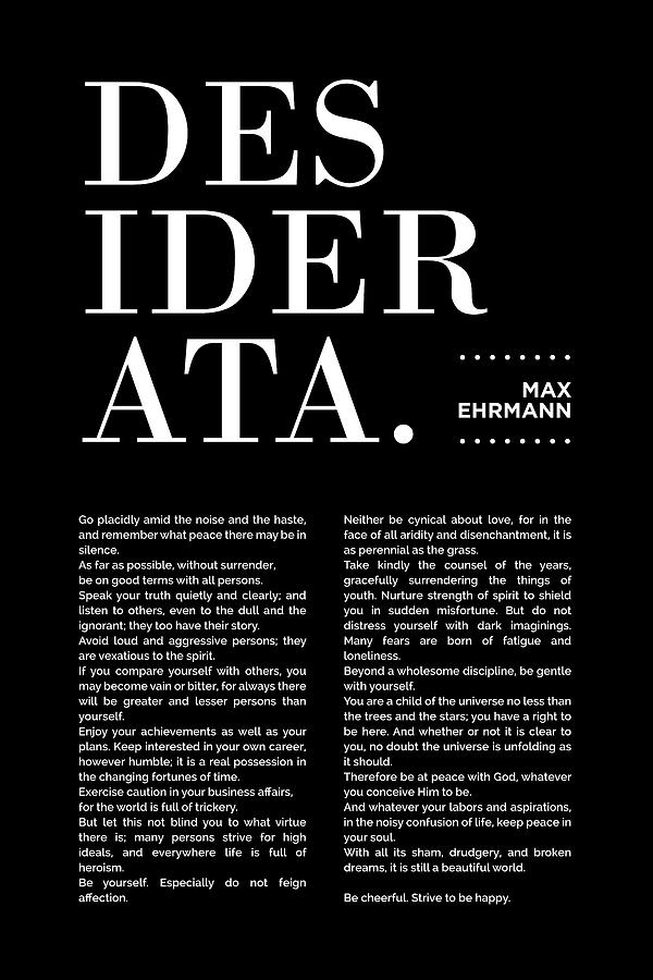 Desiderata Print - Max Ehrmann - Typography - Literary Poster 19 Mixed Media