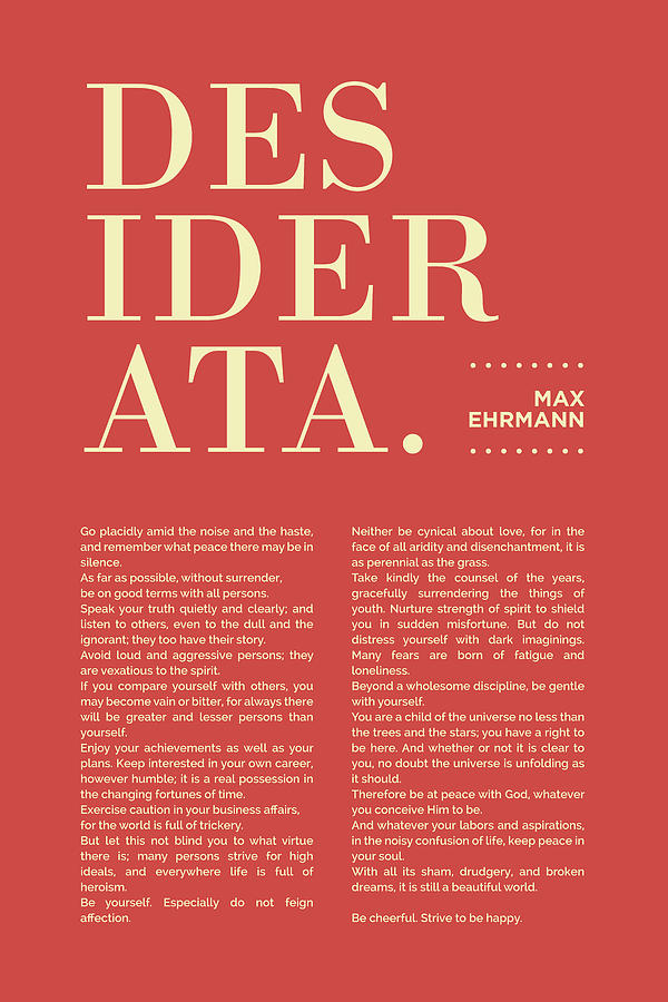 Desiderata Print - Max Ehrmann - Typography - Literary Poster 20 Mixed Media