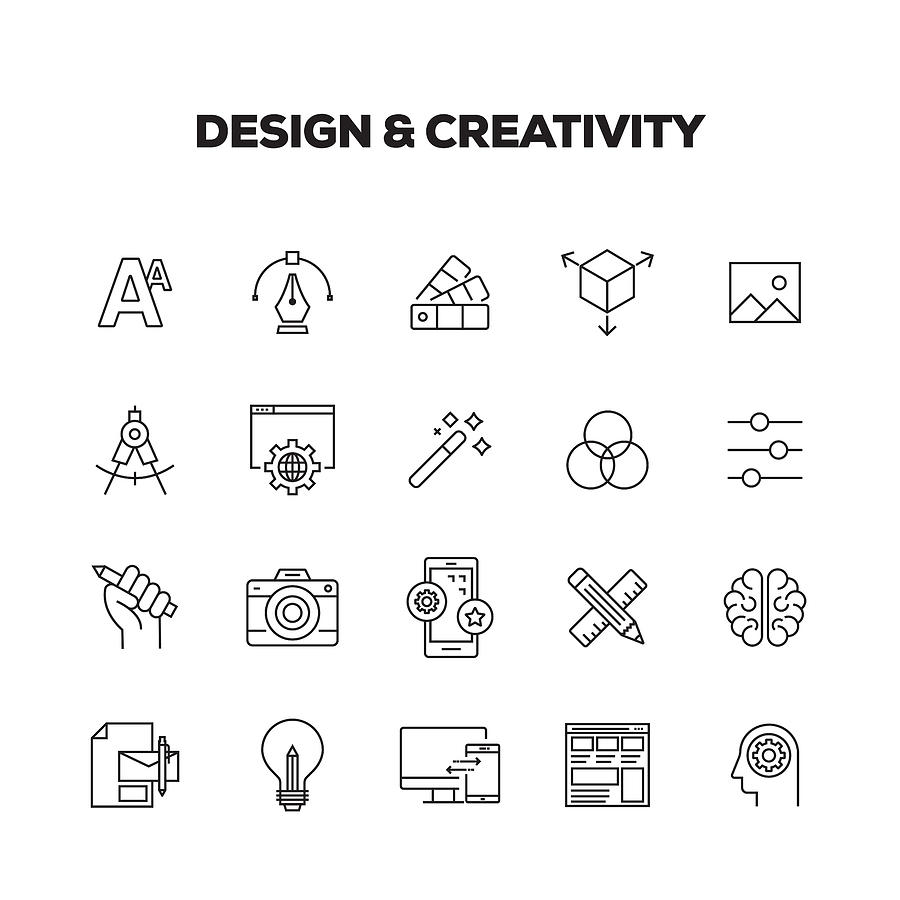 Design And Creativity Line Icons Set Drawing by Cnythzl