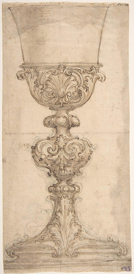 Giovanni Painting - Design For A Chalice With Acanthus And Shell Decoration  by Giovanni Battista Foggini