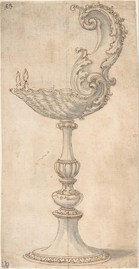 Giovanni Painting - Design For A Cup Or Reliquary Composed Of A Shell And S Volute   by Giovanni Battista Foggini