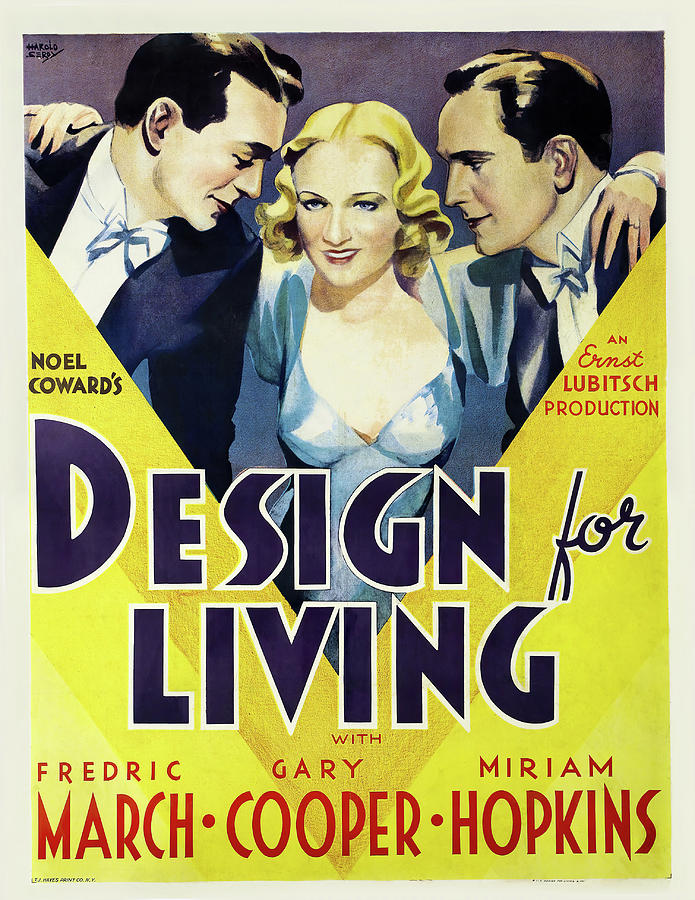 design For Living, With Gary Cooper, 1933 Mixed Media