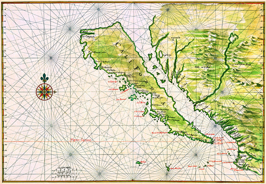 Detailed Map Of California As An Island Early 17th Century
