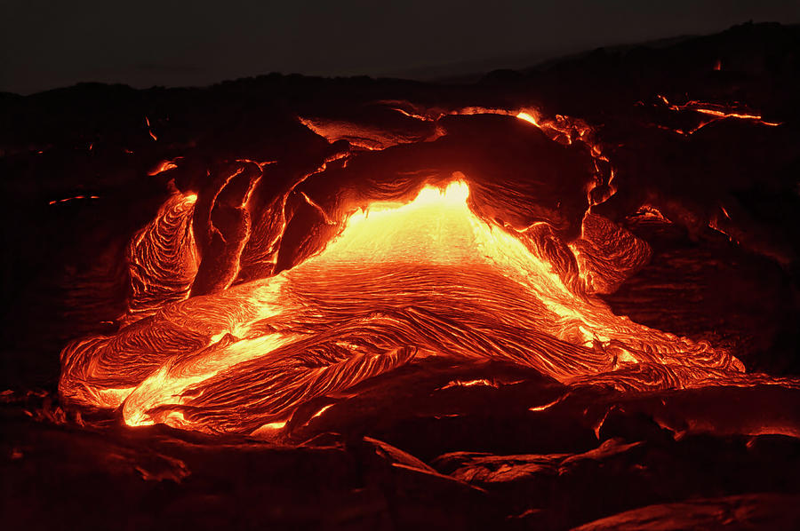 Lava Photograph - Details of an active lava flow, hot magma emerges from a crack i by Ralf Lehmann