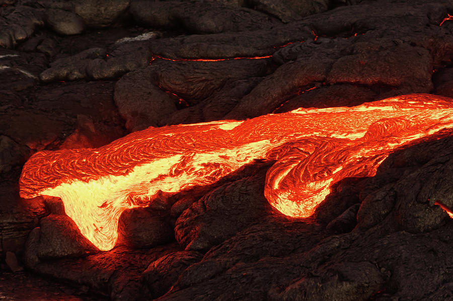 Lava Photograph - Details of an active lava flow by Ralf Lehmann