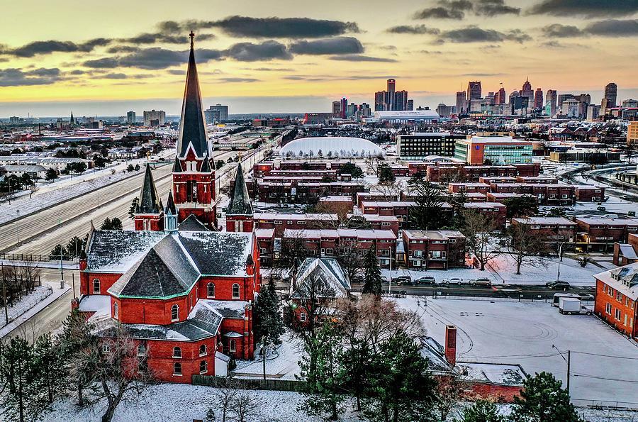 Detroit Church and RenCen DJI_0721 by Michael Thomas