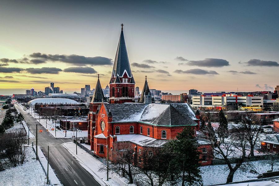 Detroit Church and RenCen V2 DJI_0704 by Michael Thomas
