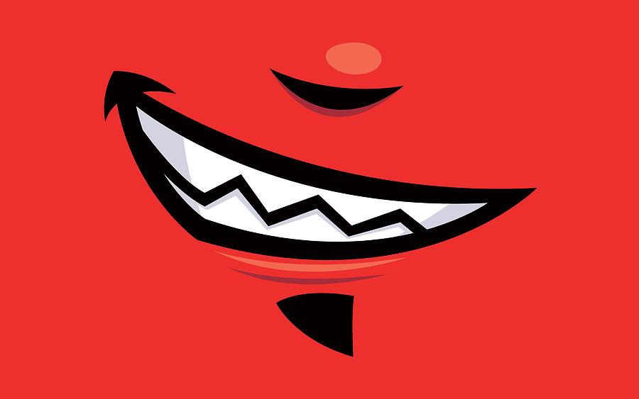 Grin Digital Art - Devilish Grin Cartoon Mouth by John Schwegel