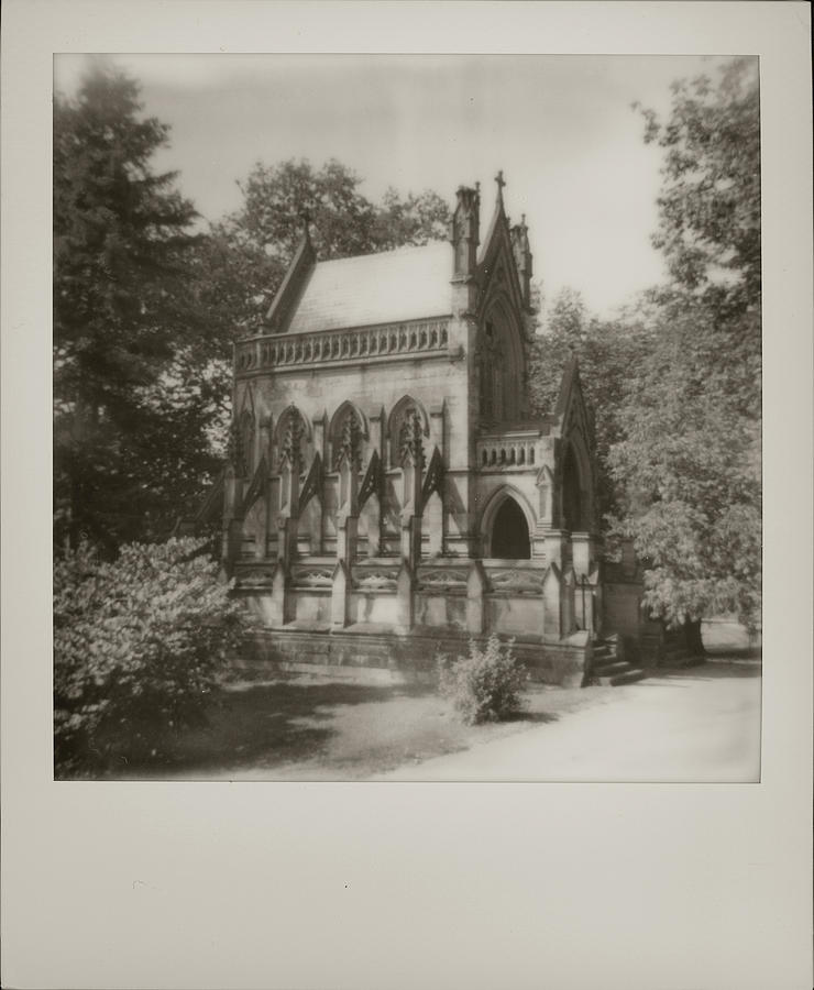 Dexter Mausoleum  Black and White Polaroid 600 Spring Grove Cemetery Cincinnati Ohio   by Dave Morgan
