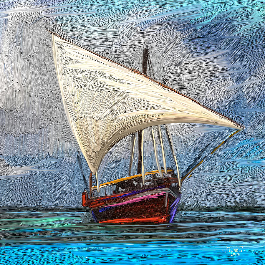Dhow In Mombasa Painting