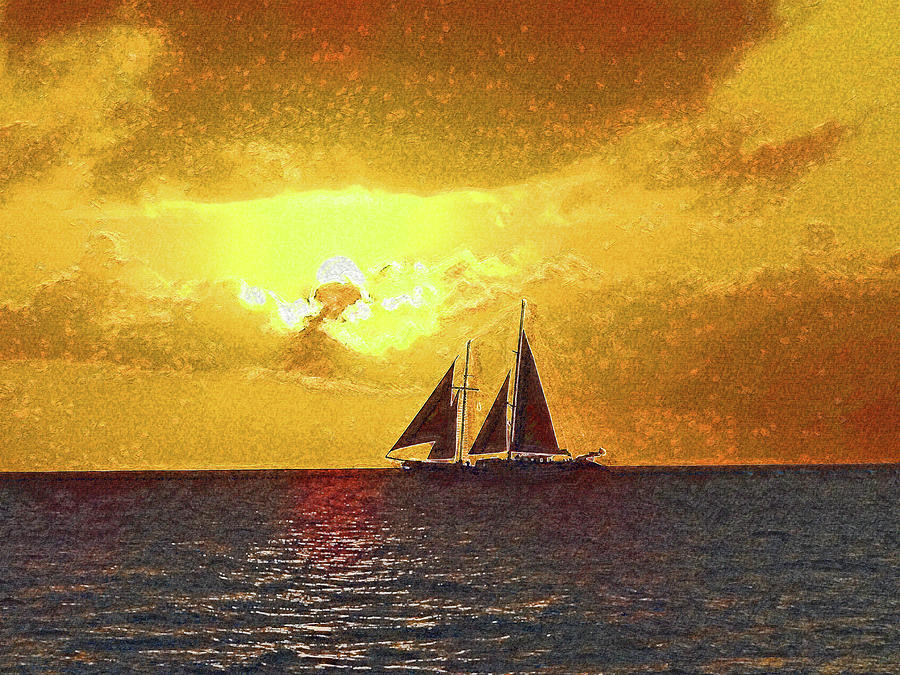 Diamant At Sunset Impressionism by Island Hoppers Art