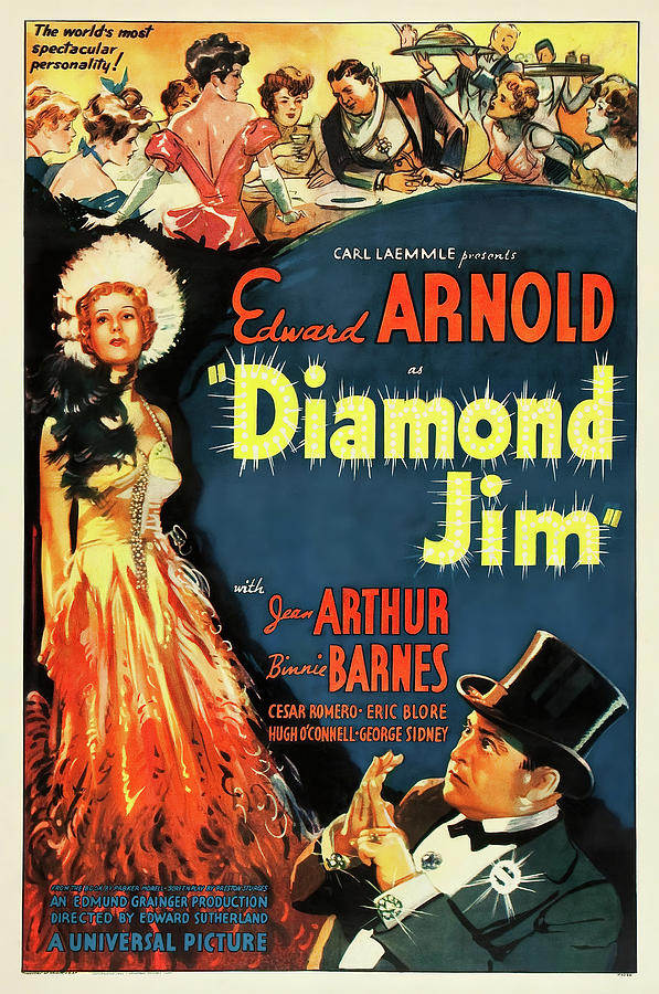 diamond Jim Movie Poster, With Edward Arnold, 1935 Mixed Media