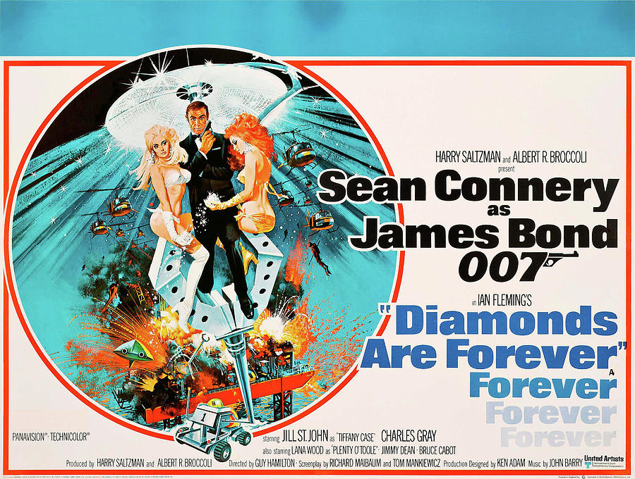 diamonds Are Forever Movie Poster 1971 Mixed Media
