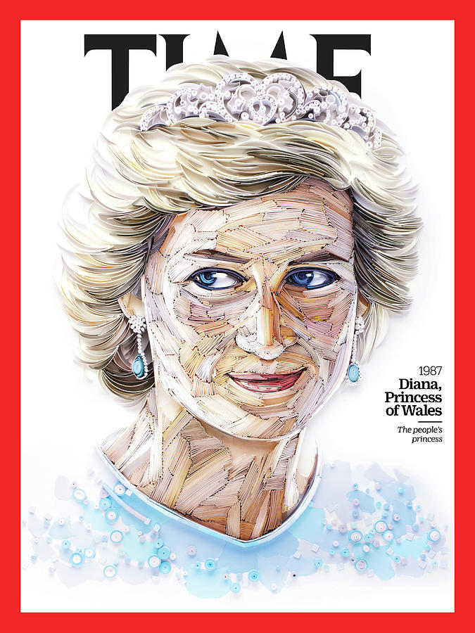 Time Photograph - Diana, Princess of Wales, 1987 by Paper sculpture by Yulia Brodskaya for TIME