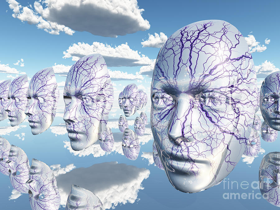 Diembodied Faces Hover In Surreal Scene Digital Art