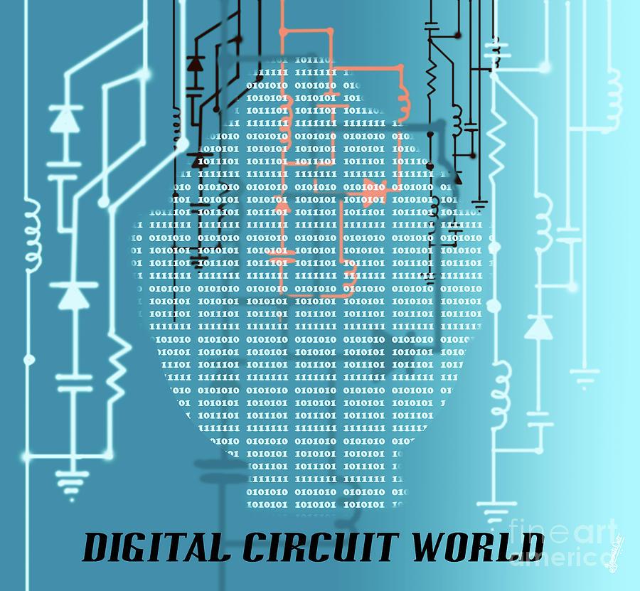 Machine Learning Digital Art - Digital Circuit World by Artist Nandika Dutt