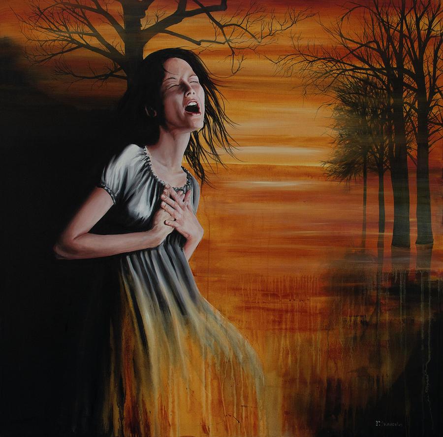 Woman Painting - Diluvio de Lagrimas by Ryan Swallow