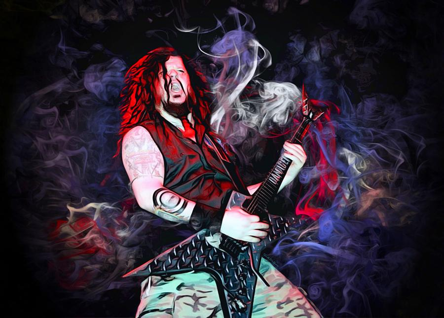 Darrell Abbott Digital Art - Dimebag Darrrell Abbot Action Portrait  by Scott Wallace Digital Designs