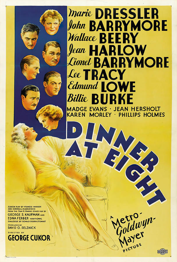 dinner At Eight, With Jean Harlow And John Barrymore, 1933 Mixed Media