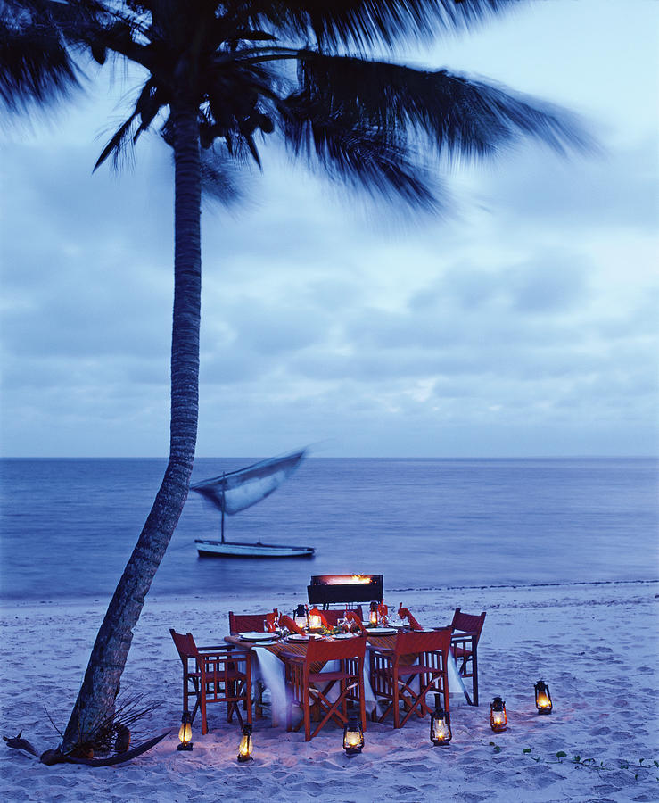 Dinner Table on the Beach in Mozambique Photograph by Tim Beddow