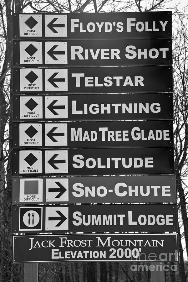 Directions At Jack Frost Ski Resort Black And White by Adam Jewell