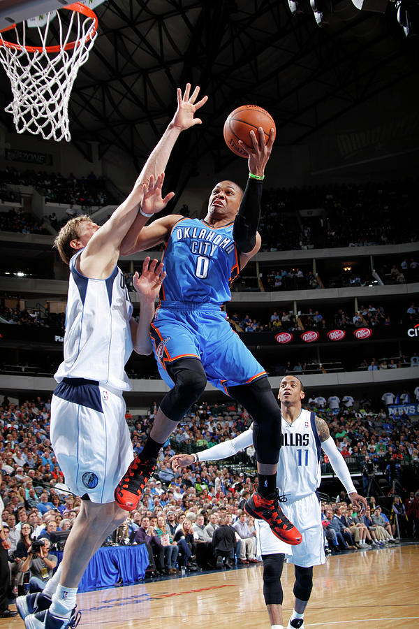 Dirk Nowitzki and Russell Westbrook Photograph by Glenn James