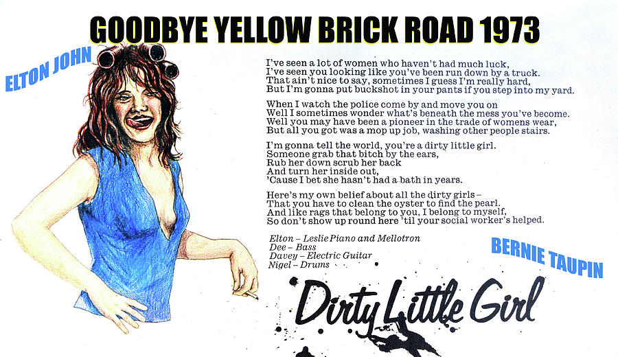 Rock And Roll Mixed Media - Dirty little girl 1973 by David Lee Thompson