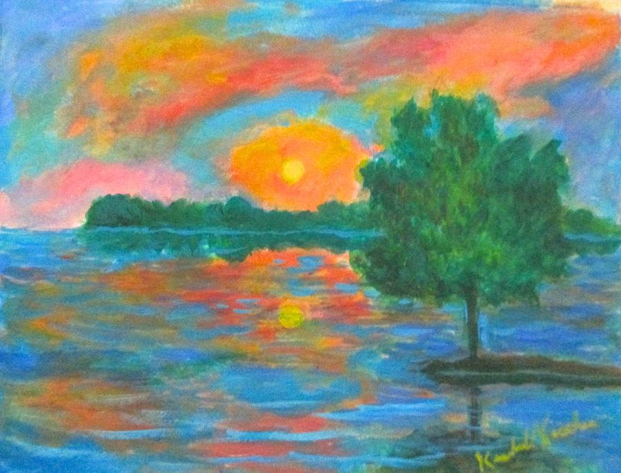 Distant Lake Sunset by Kendall Kessler