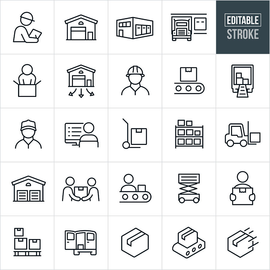 Distribution Warehouse Thin Line Icons - Editable Stroke Drawing by Appleuzr