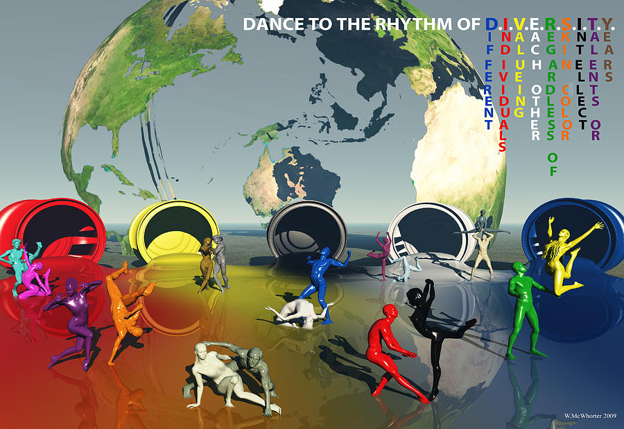 3d Painting - Diversity - Dance To Diversity by Williem McWhorter
