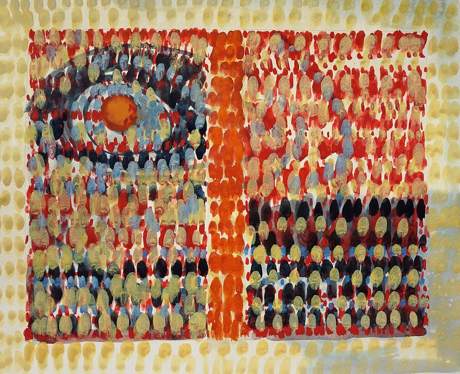 Orange Painting - Djinni in a Bottle by Bruce Black
